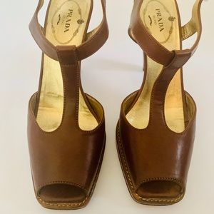 Prada Shoes - Prada T Strap Peep Toe Heels